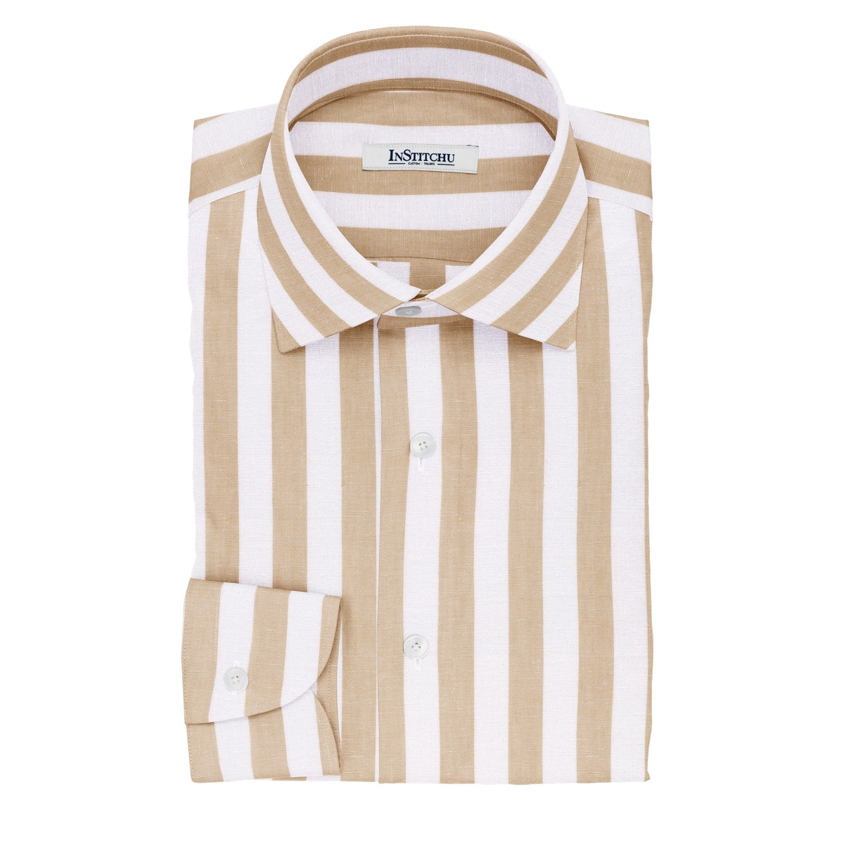 InStitchu Collection The Flynne White and Beige Striped Cotton Linen Shirt