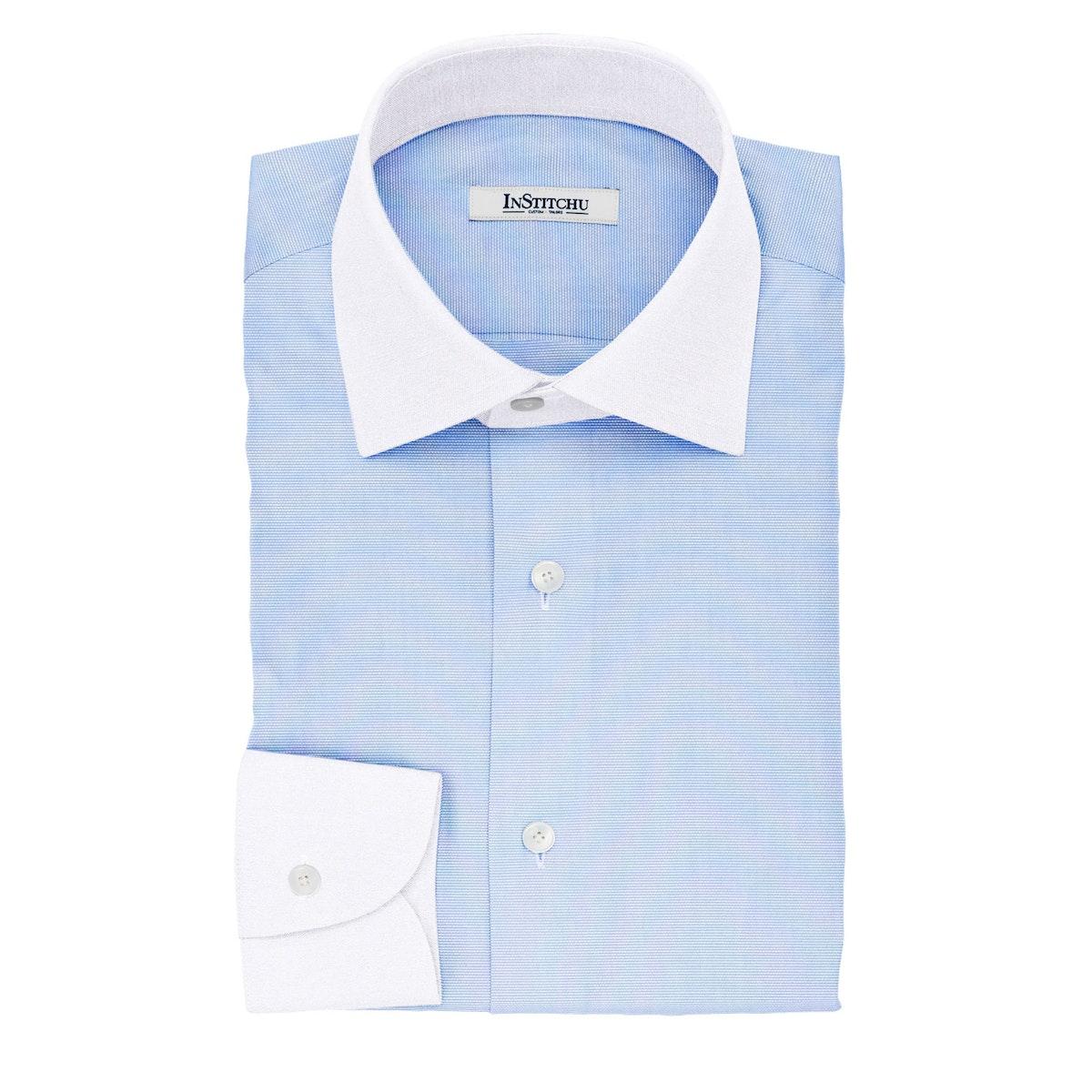 InStitchu Collection The Fox Textured Blue Cotton Banker Shirt