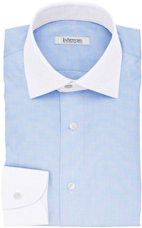 InStitchu Collection The Fox Textured Blue Cotton Banker Shirt