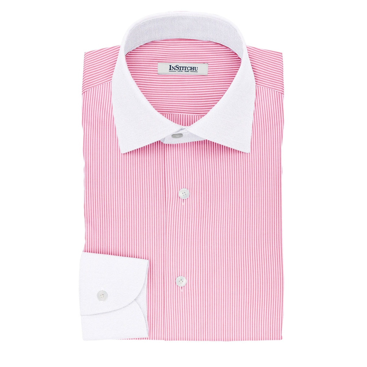 InStitchu Collection The Gekko Pink Stripe Cotton Banker Shirt