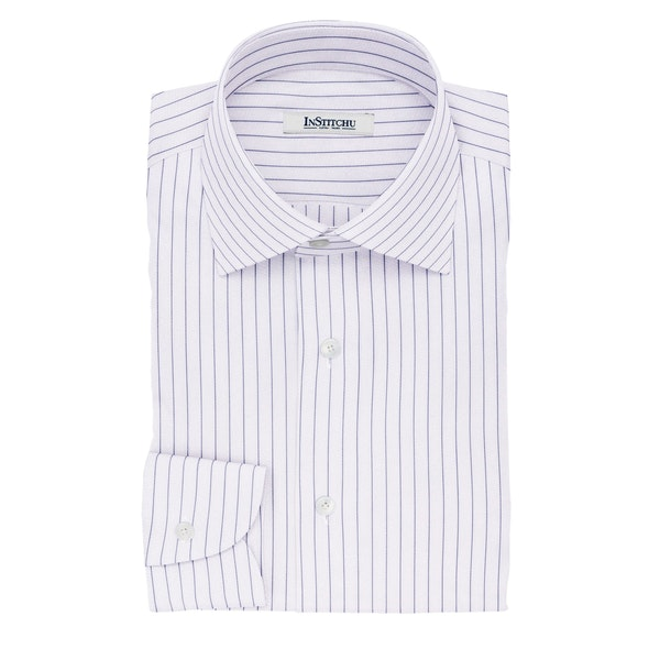 InStitchu Collection The Gilligan Navy and White Pinstripe Cotton Shirt
