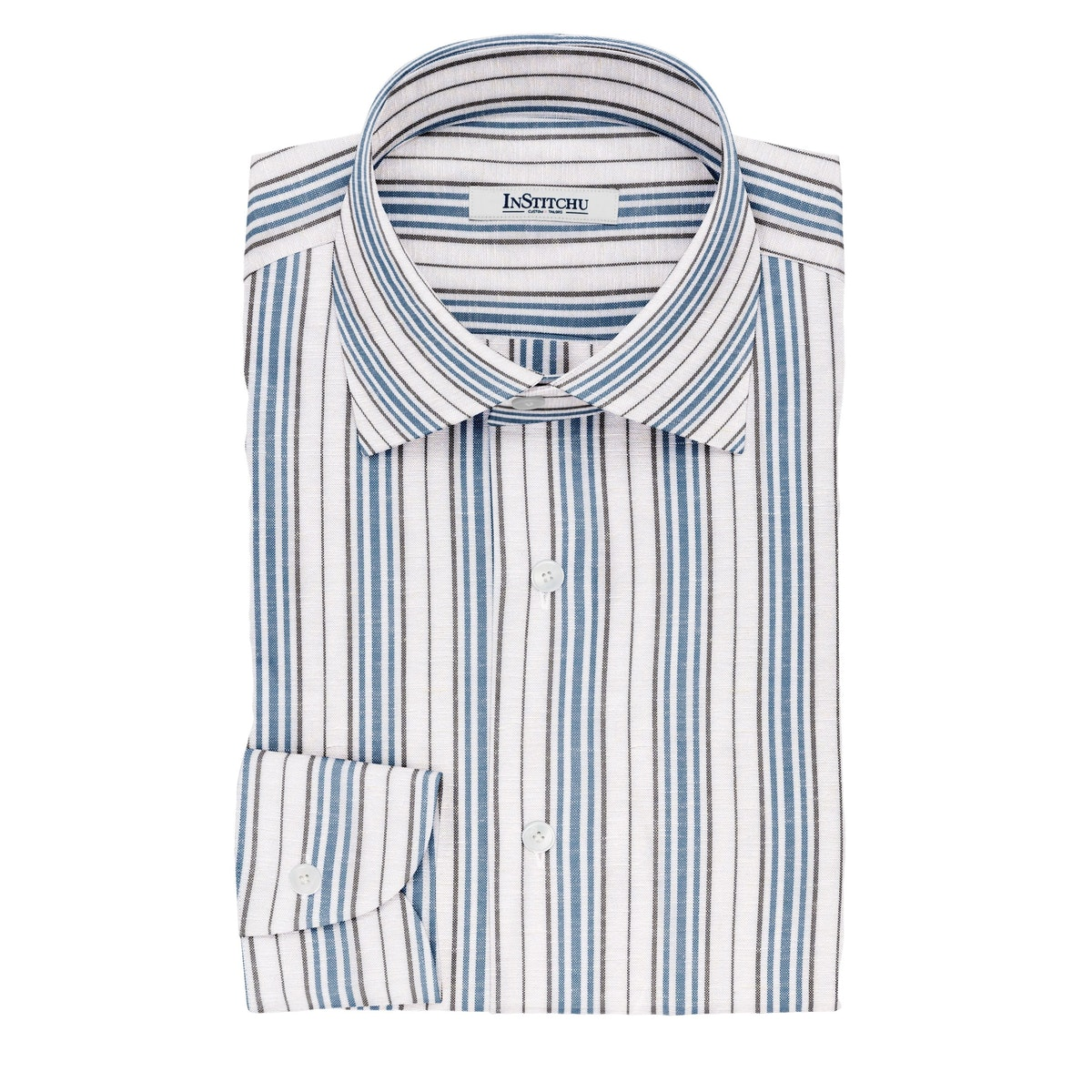 InStitchu Collection The Grisham White, Blue and Black Striped Linen Blend Shirt
