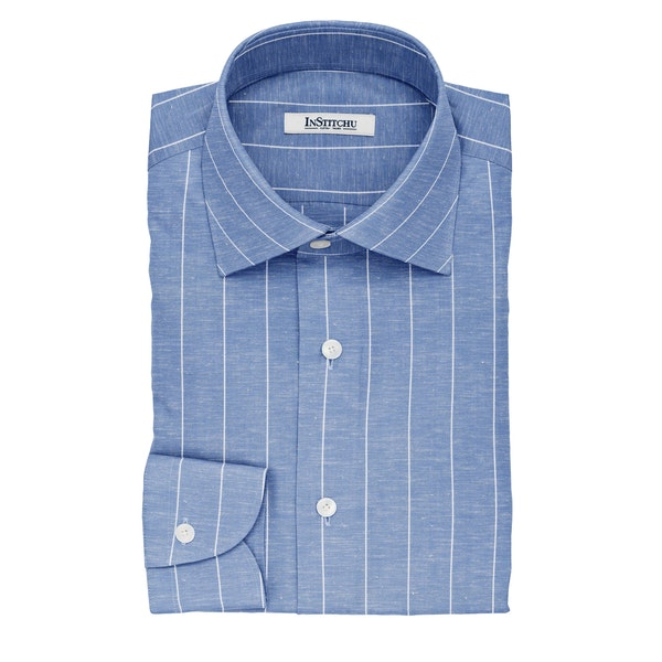 InStitchu Collection The Harper Blue and White Striped Linen Blend Shirt