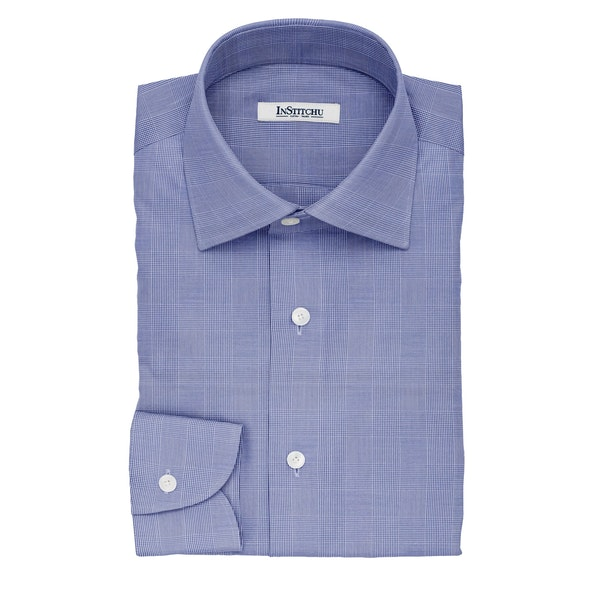 InStitchu Collection The Hemingway Navy Glen Plaid Cotton Shirt