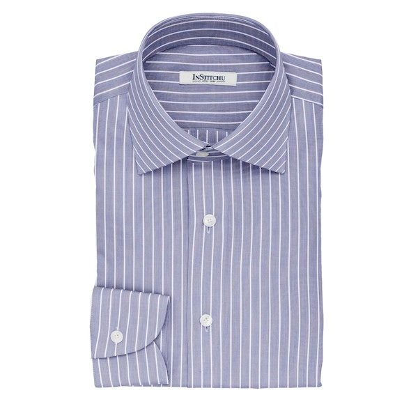 InStitchu Collection The Herzl Navy and White Striped Cotton Shirt