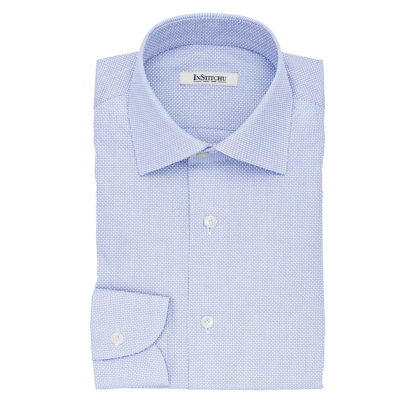 InStitchu Collection The Hobbes Blue Dobby Non-Iron Cotton Shirt