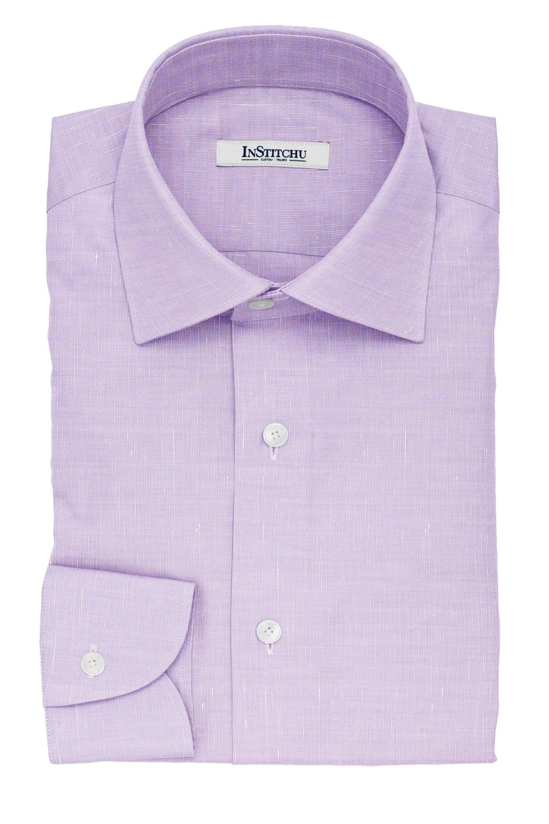 InStitchu Collection The Hugo Violet Cotton Linen Blend Shirt