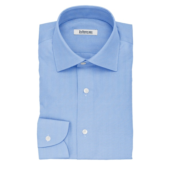 InStitchu Collection The Joyce Blue and White Herringbone Cotton Shirt