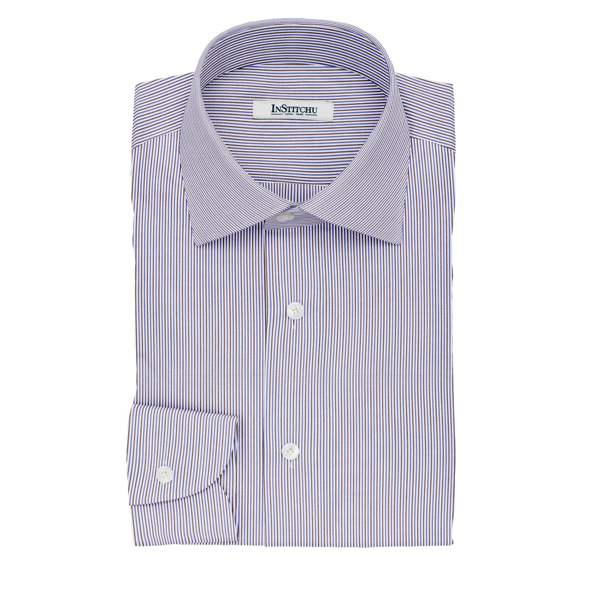 InStitchu Collection The Keats Blue and Brown Striped Cotton Shirt