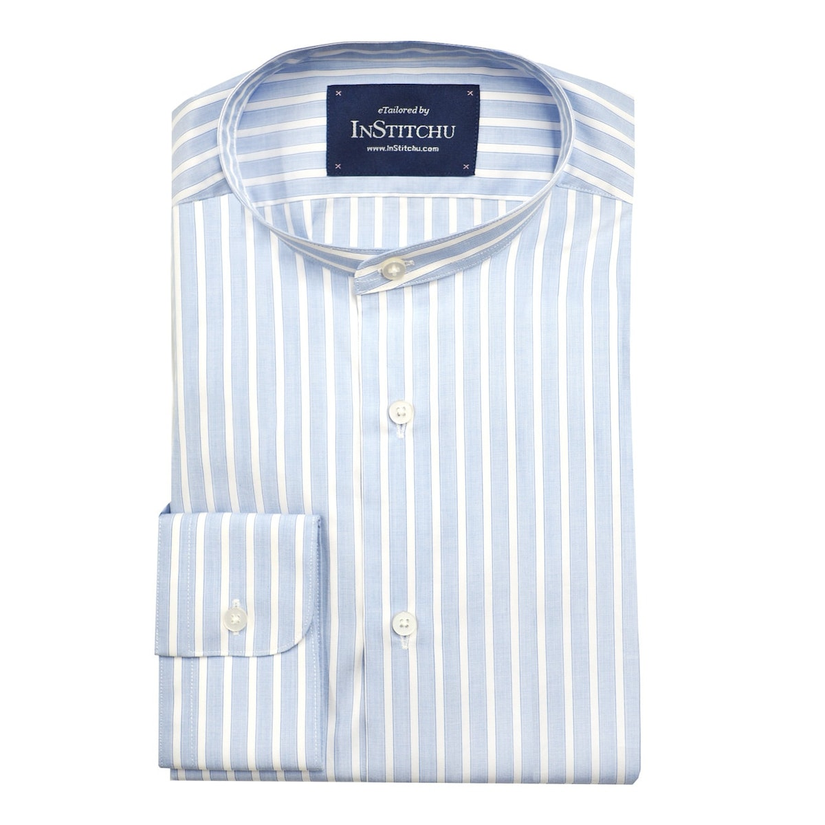 InStitchu Collection The Kingscliff White on Blue Stripe Band Collar Shirt