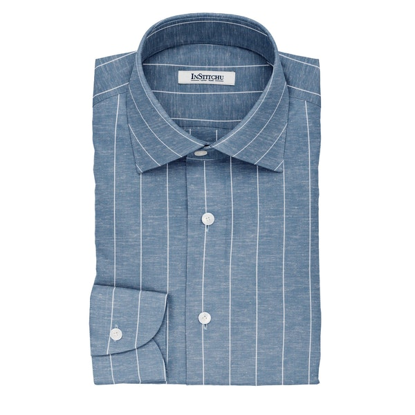 InStitchu Collection The Lewis Blue and White Striped Linen Blend Shirt