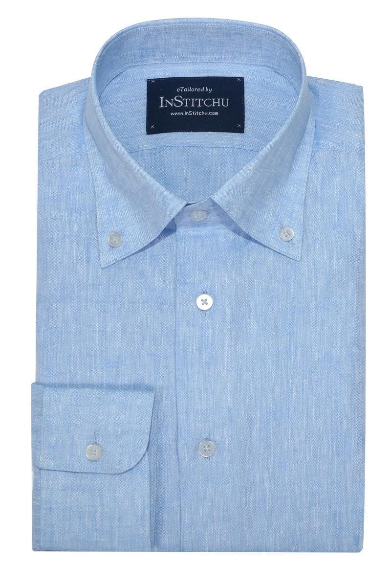 InStitchu Collection The Light Blue Linen Blend Button Down Shirt