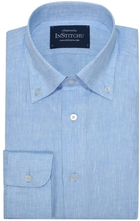 InStitchu Collection The Light Blue Linen Blend Button Down Shirt