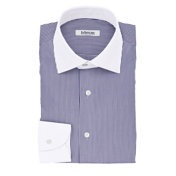 InStitchu Collection The Livingstone Navy Stripe Cotton Banker Shirt