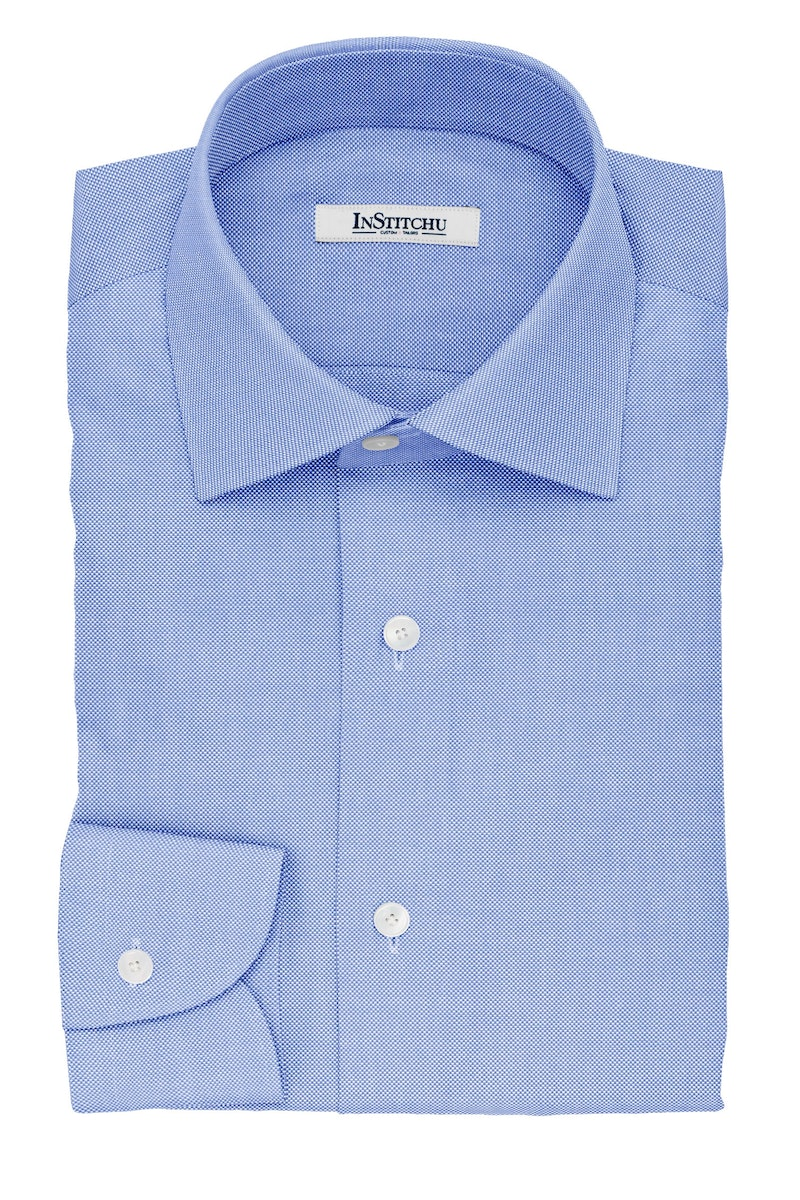 InStitchu Collection The Locke Blue Pincheck Non-Iron Cotton Shirt