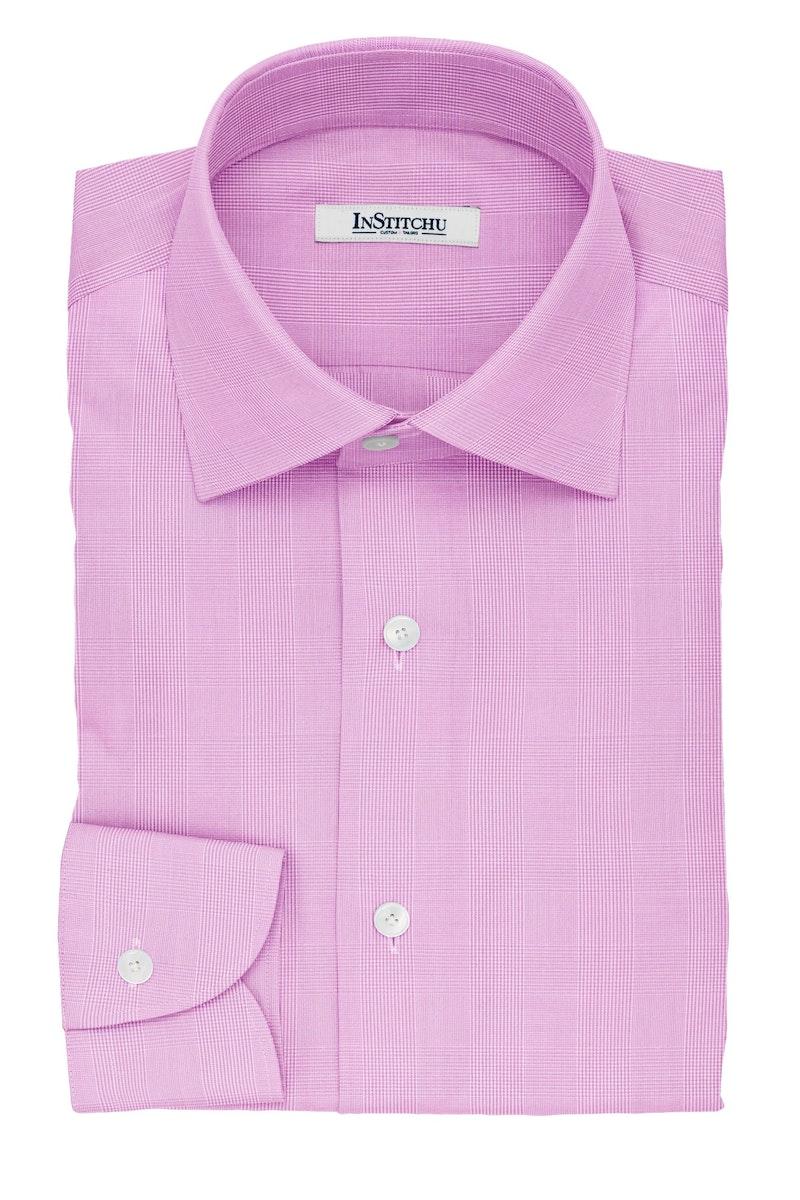 InStitchu Collection The London Pink Glen Plaid Cotton Shirt