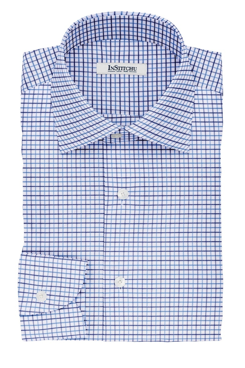 InStitchu Collection The Lovecraft Blue and Navy Tattersall Cotton Shirt