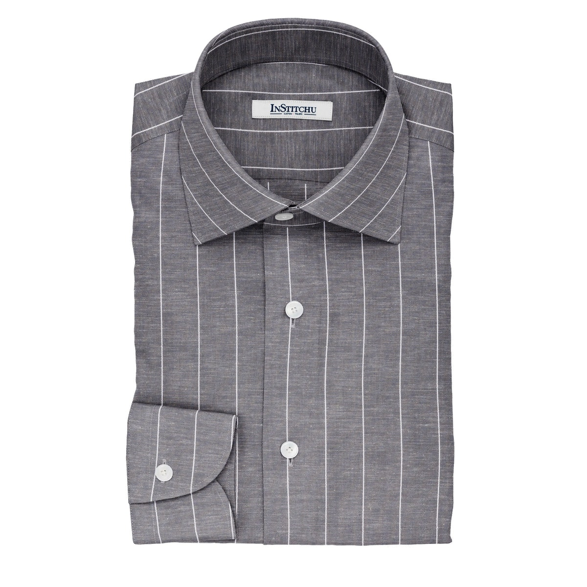 InStitchu Collection The Ludlum Black and White Striped Linen Blend Shirt