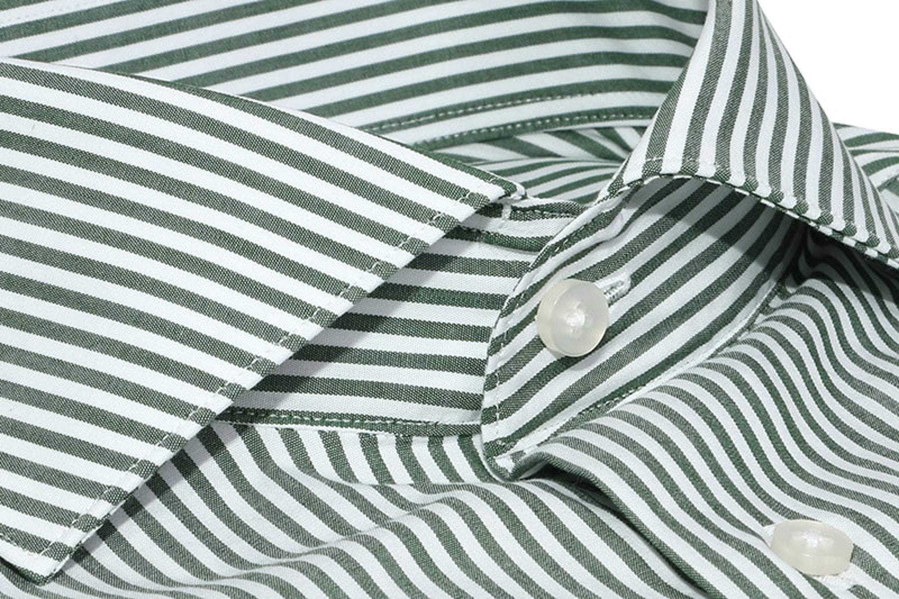 InStitchu Collection The Madura Olive and White Striped Cotton Business Shirt