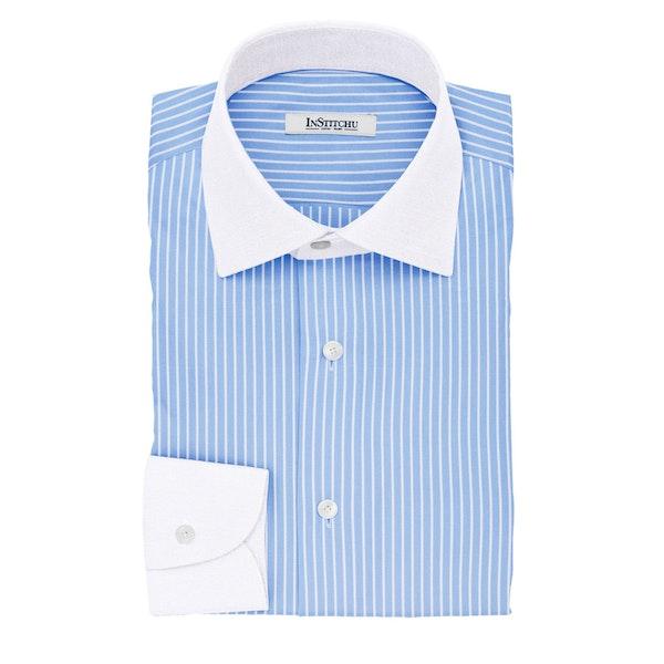 InStitchu Collection The Mannheim Blue Stripe Cotton Banker Shirt