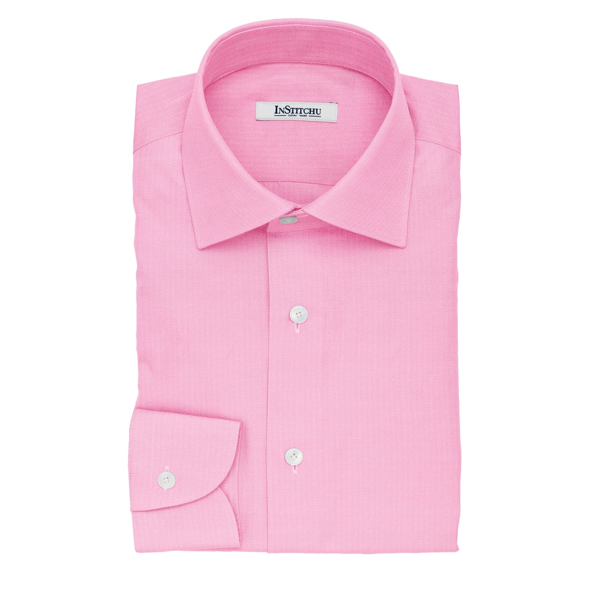 InStitchu Collection The McGonagall Pink Herringbone Cotton Shirt