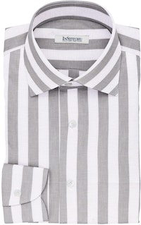 InStitchu Collection The Merkwood White and Grey Striped Cotton Linen Shirt