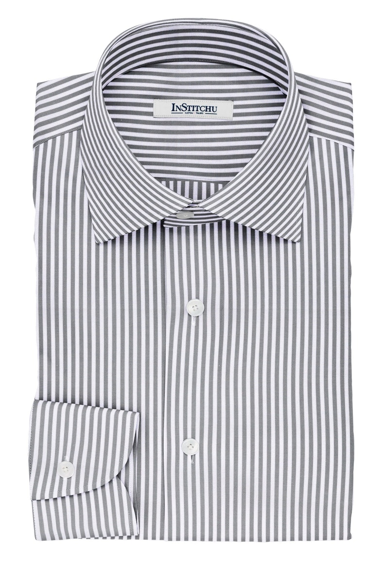 InStitchu Collection The Millay Grey and White Striped Non-Iron Cotton Shirt