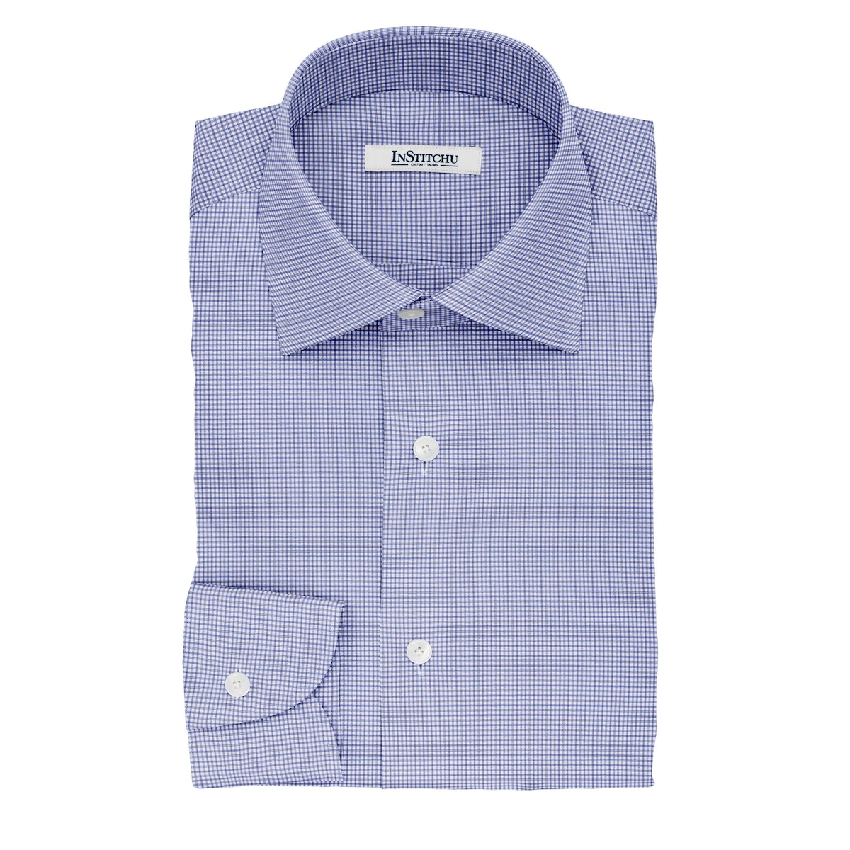 InStitchu Collection The Milton Blue and Navy Plaid Cotton Shirt