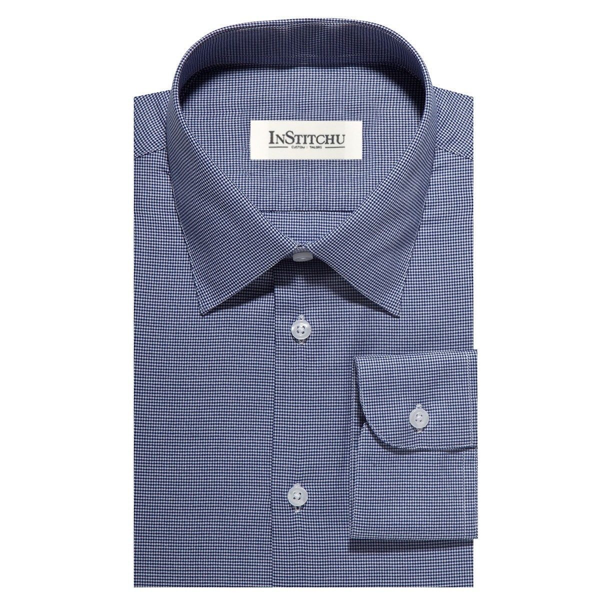 InStitchu Collection The Myrtle Blue Houndstooth Shirt