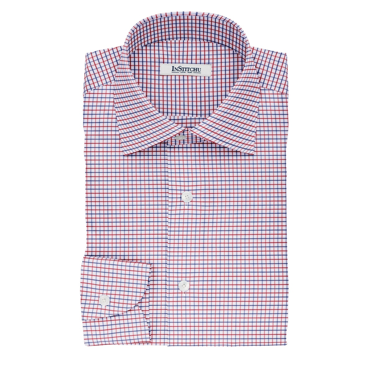 InStitchu Collection The Ovid Red and Navy Tattersall Cotton Shirt