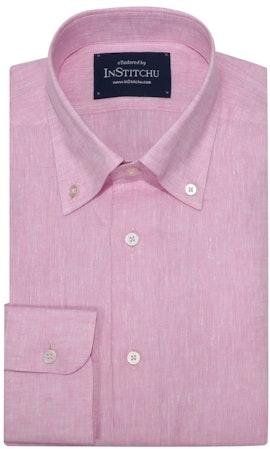 InStitchu Collection The Pink Linen Blend Button Down Shirt