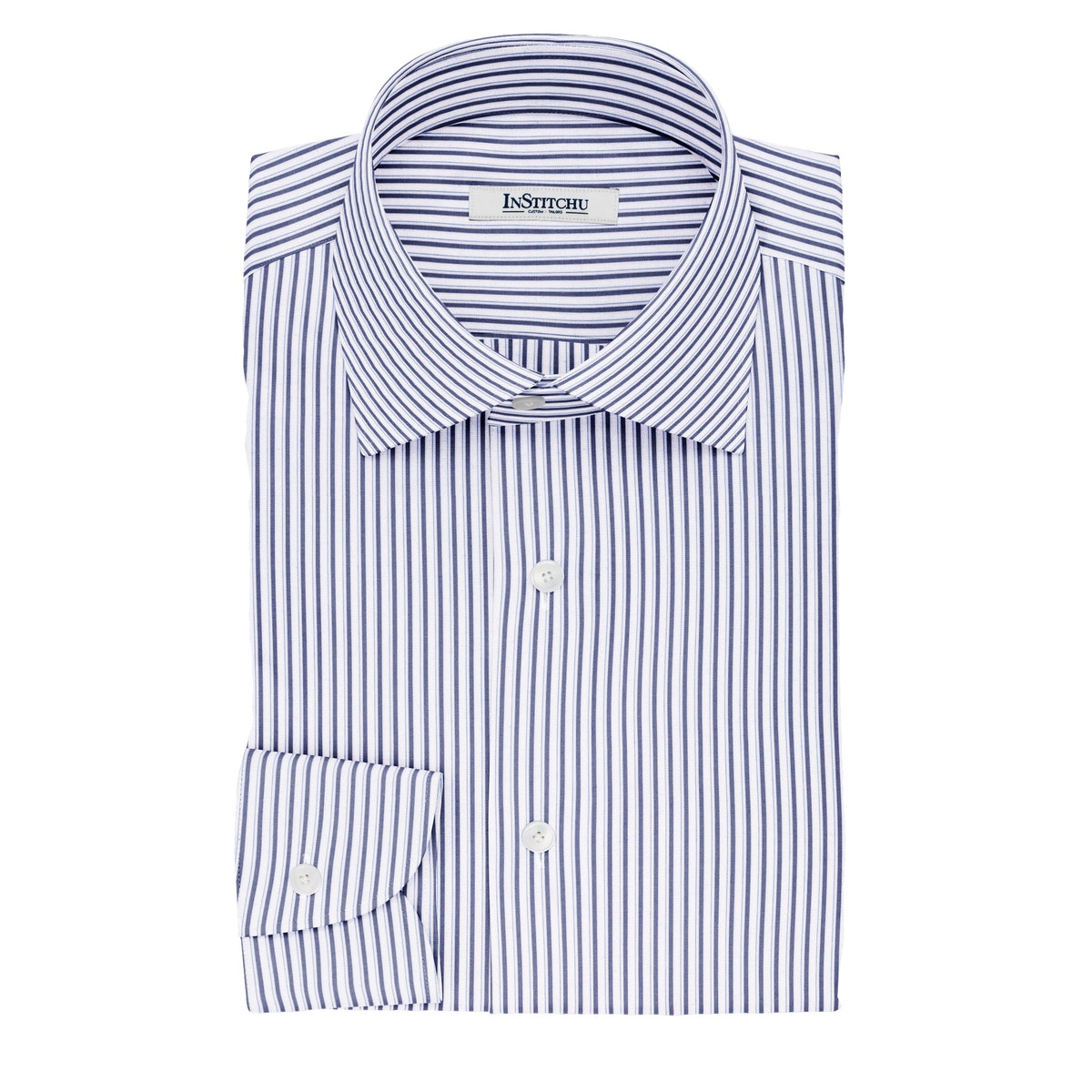 InStitchu Collection The Poe White and Blue Striped Cotton Shirt