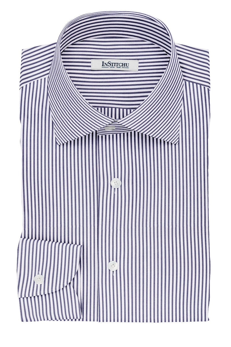 InStitchu Collection The Potter Navy and White Striped Cotton Shirt