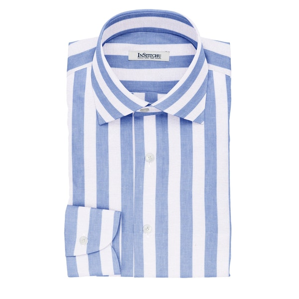 InStitchu Collection The Rimington White and Blue Striped Cotton Linen Shirt