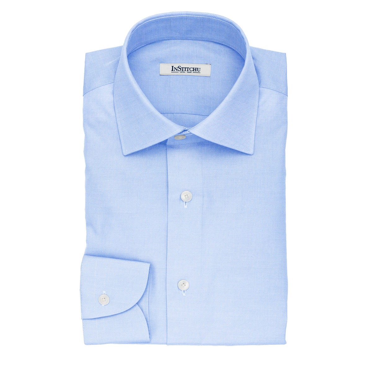 InStitchu Collection The Scalfaro Blue Cotton Shirt