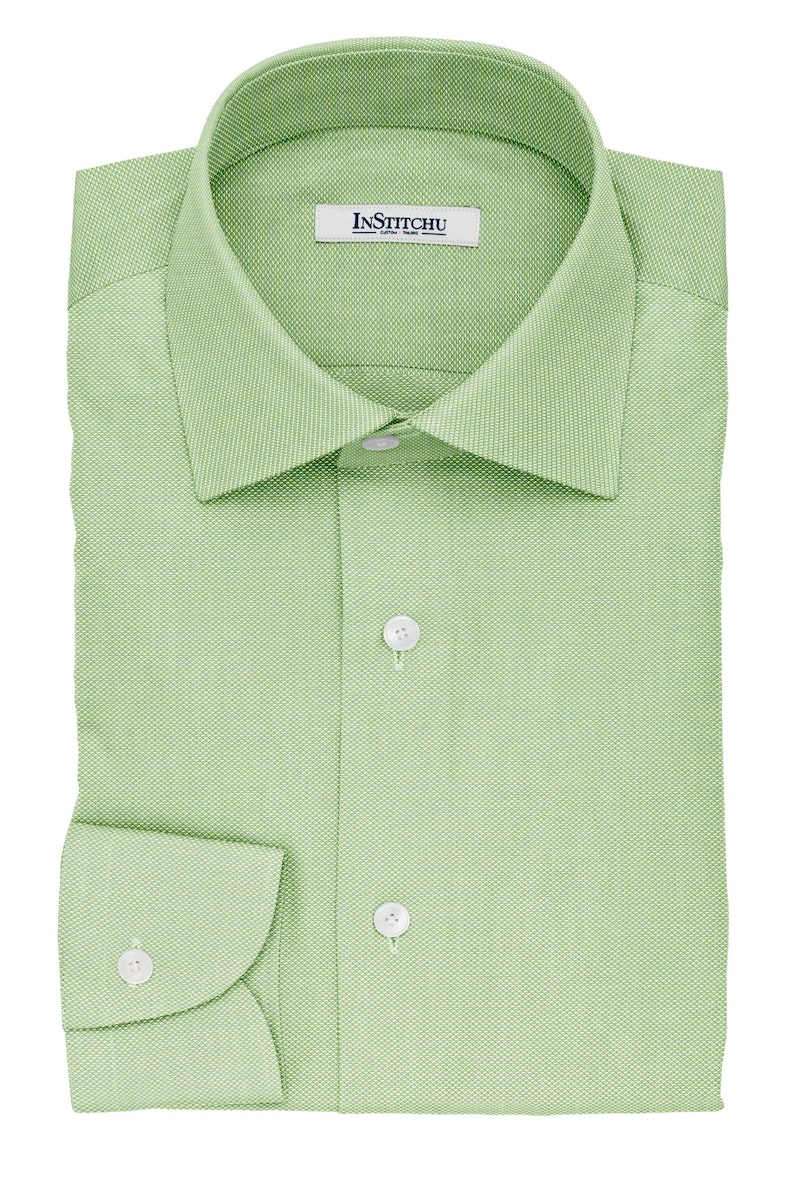 InStitchu Collection The Seneca Green Pinpoint Cotton Oxford Shirt