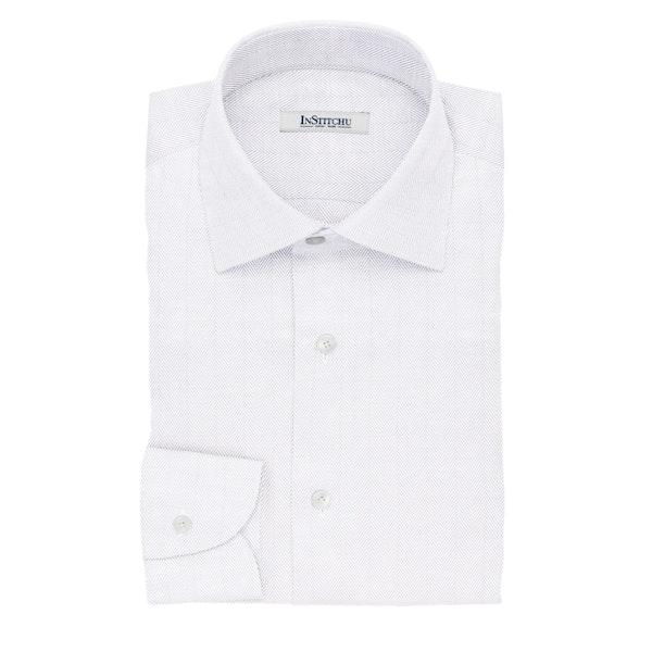 InStitchu Collection The Shakespeare White Herringbone Non-Iron Cotton Shirt