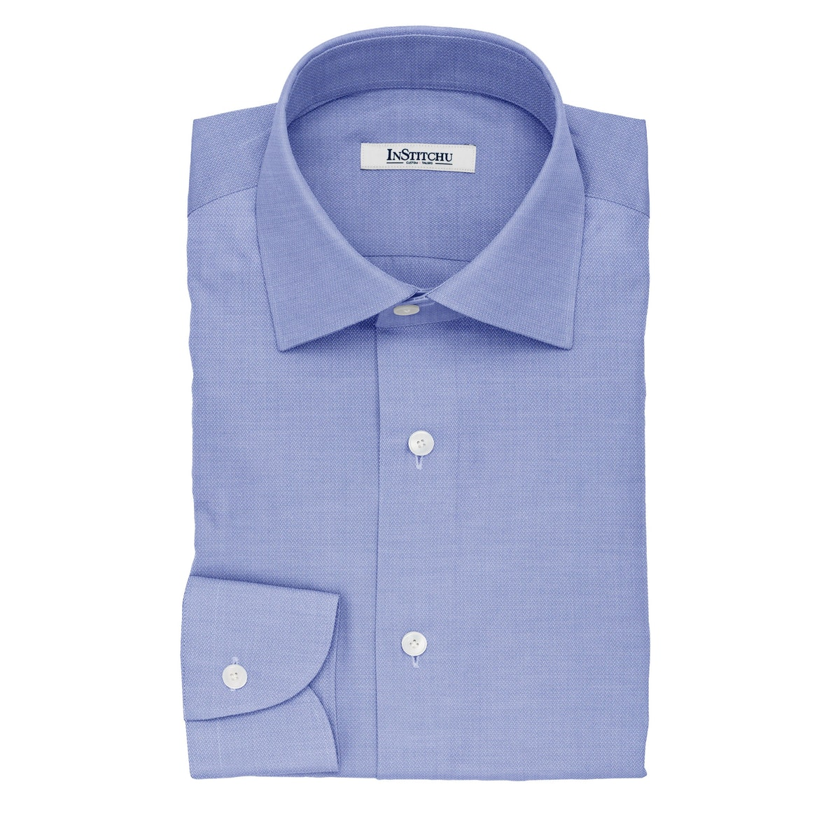 InStitchu Collection The Smith Blue and White Herringbone Cotton Shirt