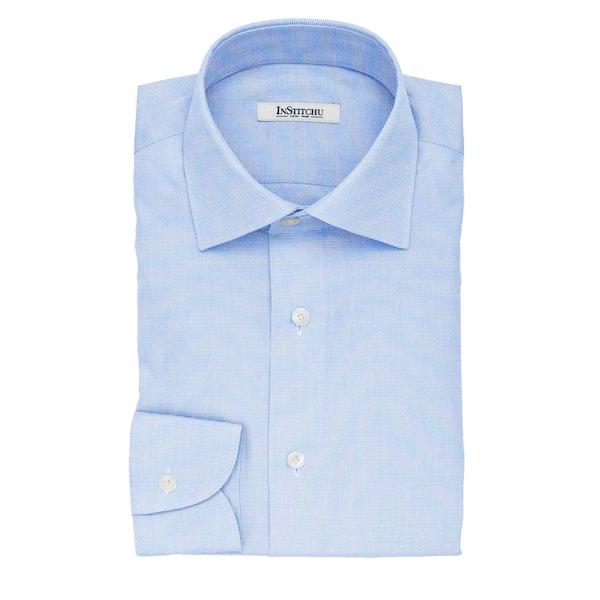 InStitchu Collection The Stevenson Blue Textured Cotton Shirt