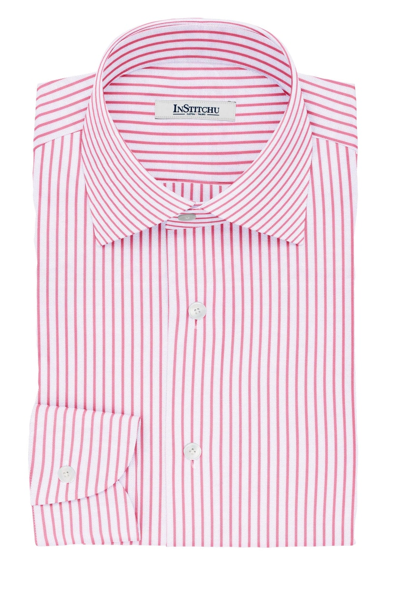 InStitchu Collection The Stoker Pink and White Striped Cotton Shirt
