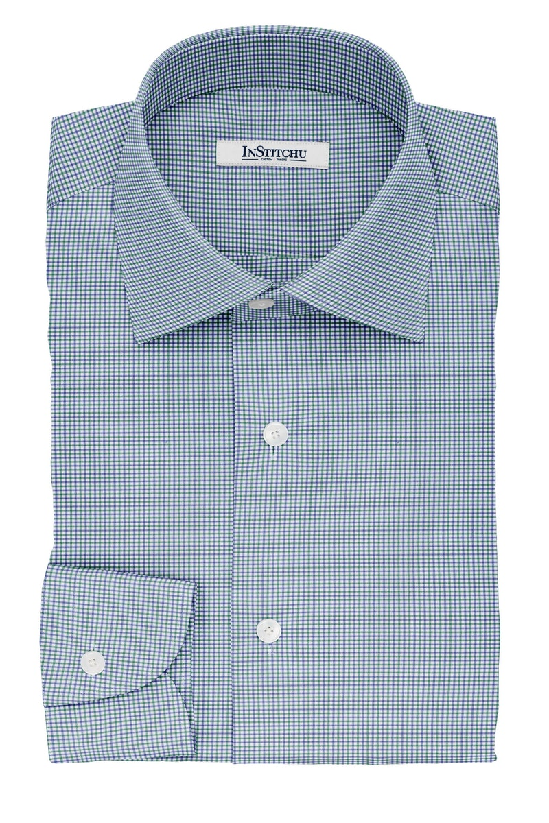 InStitchu Collection The Tennyson Blue and Green Plaid Cotton Shirt
