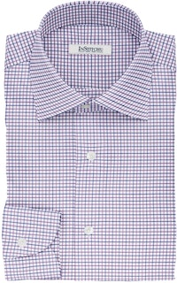InStitchu Collection The Tolstoy Purple and Navy Tattersall Cotton Shirt