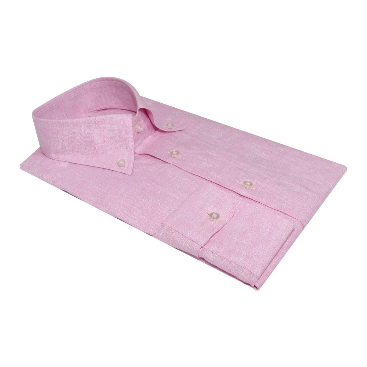 InStitchu Collection The Vatia Pink Linen Shirt