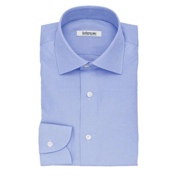 InStitchu Collection The Verne Sky Blue Dobby Non-Iron Cotton Shirt