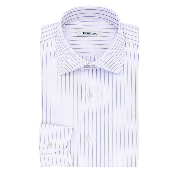 InStitchu Collection The Voltair Blue and White Striped Cotton Shirt