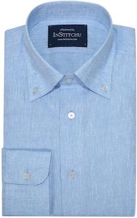 InStitchu Collection Pure Sea Blue Linen Button Down Shirt