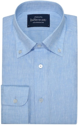 InStitchu Collection The Wallbrook Light Blue Linen Shirt