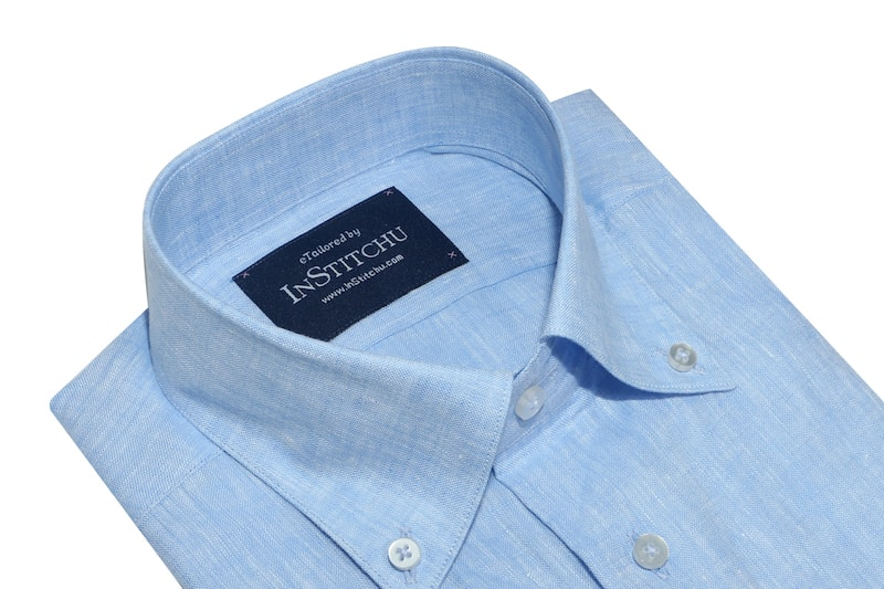 InStitchu Collection Pure Sea Blue Linen Button Down Shirt