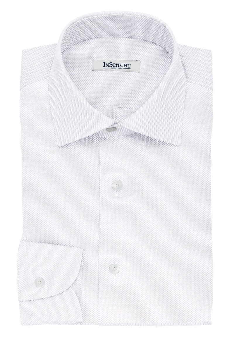 InStitchu Collection The Wesley White Dobby Non-Iron Cotton Shirt