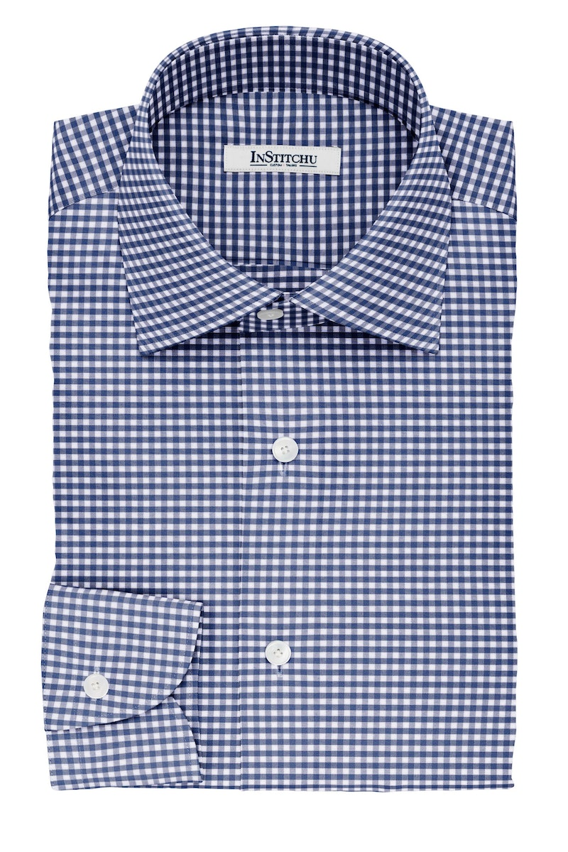 InStitchu Collection The Woolf Navy Gingham Check Non-Iron Cotton Shirt
